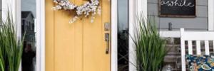 Yellow door with white trim